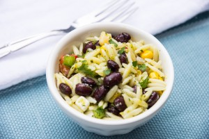 Black Bean Orzo Salad with Cilantro Lime Jalapeño Vinaigrette