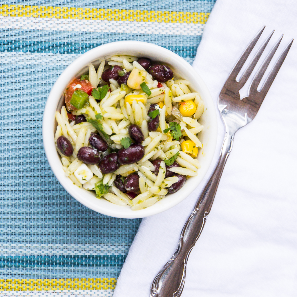 Black Bean Orzo Salad with Cilantro Lime Jalapeño Vinaigrette | Festively Made