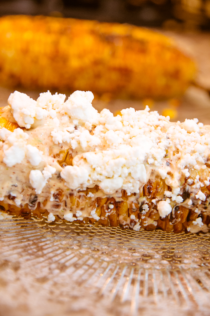 Grilled Corn on the Cob with Spicy Mayo, Lime and Cheese